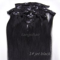 Wholesale remy human hair jet black for sale - Group buy Clip in Remy Human Hair Extensions quot quot Jet Black Brazilian Malaysian Peruvian Indian Virgin Remy Human Hair Bundles