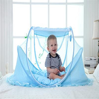 Cute Baby Crib Portable Type Comfortable Babies Pad com rede de mosquito selada Kids Infant Bed Dot Zipper Canopy Mosquito Net