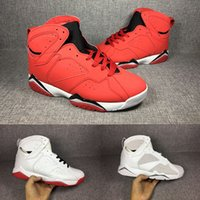 Wholesale Money Discount - 2018 Discount Cheap Retro 7 Fadeaway History of Flight Men Basketball Shoes 7s Pure money white red sport Sneaker US 8-13