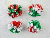 Wholesale Loopy Boutique Hair Bows - Christmas loopy bow clip Bowknot hair accessories kids bows flower baby girls headband flower Headwear boutique hair top clips Tiaras HD3227