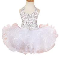 vestidos curtos de vestidos de casamento venda por atacado-Curto De Cristal Plissado Beads Cupcake Aniversário Meninas Pageant Vestido 2018 Vestido de Comunhão Crianças Formais Desgaste Meninas Vestidos de Casamento para o Casamento