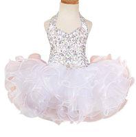 vestidos de concurso de la magdalena para 11 al por mayor-Vestidos de volantes de cristal cortos Cupcake Birthday Girls Dressant Dress 2018 Vestido de comunión para niñas Ropa formal para niños Vestidos de niñas de flores para bodas