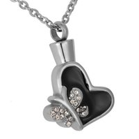 Wholesale Butterfly Glue - Lily Stainless Steel Urn Necklace Crystal Butterfly Black Glue Heart Cremation Pendant Keepsake Memorial Jewelry Ashes with gift bag