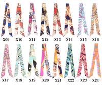 Wholesale Cheap Ladies Scarfs - Wholesale-Women Ladies 20pcs lot Fashion Brand Mulberry H Belt Handbag Scarf Silk Twilly Scarves Cheap Silk Satin Wholesale Free Shipping