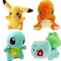 Wholesale Charmander Plush - 6'' 4pcs lot Pikachu Plush Toys Pikachu Bulbasaur Squirtle Charmander Soft Stuffed Plush Toys Doll For Kids Toys Gift