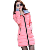Wholesale Orange Cotton Gloves - Wholesale- Camperas Mujer Invierno 2017 Winter Jacket Women Parka With Gloves Cotton Maxi Wadded Jackets Coats Plus Size Long Jacket C2261