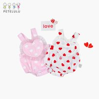 Wholesale Wholesale Heart Jumpers - Cute Sweet Baby Girls Rompers Summer Peach heart love Printed Toddler Jumpsuits Newborn Romper One-piece jumpers Lace Sleeveless A7970