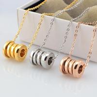 Wholesale Metal Titanium Necklaces - Luxury spring necklaces 14K rose gold Titanium metal cylinder pendant charm statement bracelets for women men Christmas gift 3 colors 160603