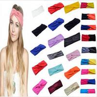 ingrosso fascia di bandana stretch yoga-Donne Stretch Twist fascia Turbante Sport Yoga dell'involucro della testa del Bandana Headwear Accessori per capelli