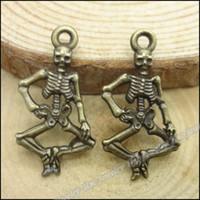 Wholesale Antique Bronze Skull Charm - Vintage Charms Skull alloy Pendant Antique bronze Metal Fits Bracelets Necklace DIY Jewelry accessories Findings 140pcs lot 26*14mm