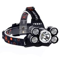 faros delanteros recargables al por mayor-5 LED faro de alta potencia faro cabeza recargable 12000 lúmenes LED XM-L T6 + 4XPE cabeza antorcha + cargador