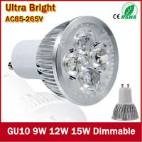 Wholesale Super Bright 12v Spotlight - 10pcs Super Bright 9W 12W 15W E27 MR16 GU10 LED Bulbs Light 110V 220V Dimmable Led Spotlights Warm Cool White LED downlight