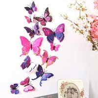 12Pcs Wall Sticker Plastic 3D Butterfly Decal Dual Wall Stickers Decoração do quarto Home Purple Red, Rainbow, Blue, Pink, White