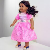 Wholesale Dolls For Children Girls - Wholesale 2015 New Arrival Christmas Gifts For Children Girls Doll Accessories Princess Pink Dress For 18'' Fashion American Girl Doll