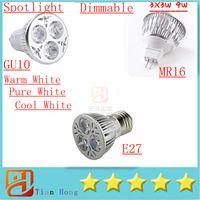 Wholesale E14 Dimmable 3x3w 9w Led - 2015New Led Lamp Dimmable GU10 E27 GU5.3 B22 E14 3X3W 9W Spotlight 3-LEDS Led Light Led Bulbs