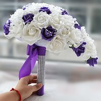 Wholesale Cheap Pearl Decorations - White and Purple Waterfall Bridal Wedding Bouquet Pearls Flower Rose Crystals Cheap Wedding Decoration Bridesmaid Bouquet