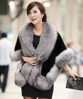 Wholesale Leather Mink Coats Women - 2016 New Winter Leather grass fox fur mink rabbit fur poncho cape bridal wedding dress shawl cape women vest fur coat