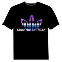 Wholesale El Lighting T Shirts - Wholesale-Hotsale Sound Activated Light Up Flashing Rock Disco Equalizer EL LED T-Shirt Cotton Hip Hop Street Men T Shirt