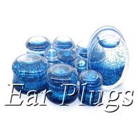 Wholesale Ear Gauges Glitter - Wholesale transparent acrylic blue glitters liquid plug gauges saddle ear plug double flare ear expander mix 10mm-25mm 48pcs lot DSP162