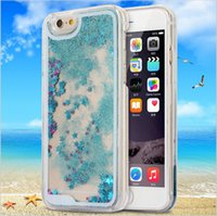Wholesale iphone dynamic sand case - Dynamic Liquid Glitter Sand Quicksand Star For iphone case Crystal Clear phone Back Cover coque For iphone5 s s Plus case
