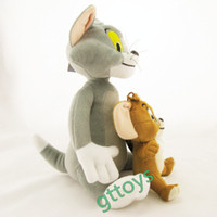 Wholesale Tom Jerry Toy Set - Wholesale-2pcs set Cat Tom and jerry mouse stuffed animals plush toy dolls