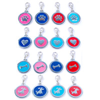 Wholesale Dog Collars Paws - 32pcs Mixed Dog Pet Tags Pendants Charms (4 Colors 4 Styles) Personalized Dog Collars with Hook (Dog Heart Paw Bone) Shape 25mm Diameter