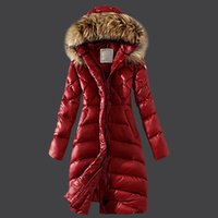 Wholesale White Long Puffer Coat - Real Raccoon Fur 2017 Ladies Long Winter Coat Women Ultra Parka Jacket Down Womens Hooded Parka Female Puffer Coats and Jackets
