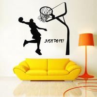 vinyle de basket achat en gros de-Belle Conception 1 PCS 45X72 CM Basketball Dunk Sport Amovible Mur Art Decal Vinyle Autocollant Excellente Qualité