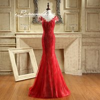 Wholesale Sparkle Prom Dress Stock - In Stock Sparkling Sequined Red Mermaid Prom Dresses 2016 Embroidery 2016 Illusion Back Lace Long Scoop Crystal Beaded Evening Dress Gown