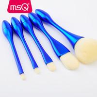 ingrosso spazzole di trucco msq-Set di pennelli per capelli sintetici Msq per il nuovo arrivo 5 pezzi Kit di pennelli per trucco sottile per ombretti in polvere per fondotinta in polvere