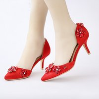 rosa kätzchen fersen hochzeit großhandel-Schöne Hochzeitsschuhe Spitz Rosa Farbe Satin Kleider Maßgeschneiderte Brautschuhe Leistung Kätzchen Ferse Schuhe