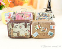 Wholesale Metal Candy Gift Favor - 2016 New Retro Suitcase Candy Box Sweet Love Wedding Party Gift Jewelry Tin plate Boxes Mix 6 Style free shipping