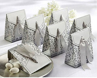 Wholesale silver Ribbon Wedding favour box Party Candy Box Favor Gift Boxes wedding box1501