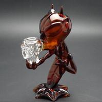 ingrosso bongi d'acqua liberi-7 '' tubo di vetro di demone Bubbler Mini Bongs diavolo marrone ambra tubi di vetro colorato per il fumo spedizione gratuita