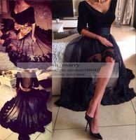 Wholesale Evenig Dress Pink - Black Gothic Vinatge Lace High Low Evening Dresses 2016 A Line V Neck Long Sleeves Bow Plus Size Arabic Formal Dresses Evenig Wear