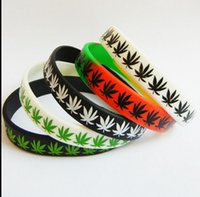 Wholesale Jelly Bands Wholesale - 50pcs Bob Marley Maple Leaf Silicone Bracelets 12 mm band Wholesale Party gift Jewelry lots