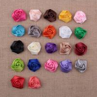 corsage para a cabeça venda por atacado-Bebê meninas cetim fita multicamadas tecido 3d rose flores para headbands corsage kid diy acessórios para o cabelo de natal do cabelo 22 cores aw07