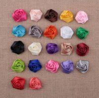 cintas de cinta de bricolaje al por mayor-Bebé niñas cinta de satén multicapas 3D tela flores color de rosa para las vendas del corsage del cabrito DIY de la Navidad de estilo de pelo accesorios 22 colores AW07