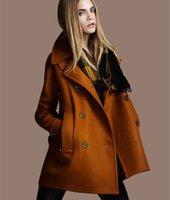 Wholesale Cotton Plus Cashmere - Thicken Winter Wool Coat European American Style Double Breasted Women Plus Size Coat Female 2015 Fashion Brand Women' Clothing