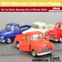 Wholesale big force - 1:36 Scale Diecast Alloy Metal Classic Car Model For 1955 Chevrolet Task Force Pickup Collection Model Pull Back Toys Car