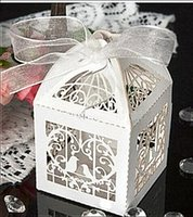Wholesale Wedding Love Favors Candy - Free Shipping 100pcs lot Wedding Supplies Ribbons Included Candy Box Love Bird Laser Cute Gift Boxes Wedding Party Favors Box