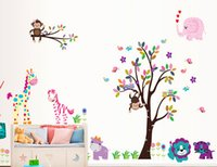 Wholesale Tree Nursery Wall Art Stickers - 156*280cm Cartoon animal tree wall stickers movable wall stick family wall Decals for Kids Playroom