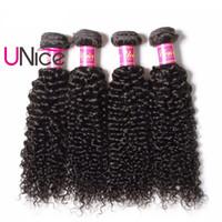 renk remi saç uzatma kıvırcık toptan satış-UNice Saç Perulu Kıvırcık Dalga 8-26 inç 1 Adet İşlenmemiş İnsan Saç Paketler Olmayan Remy Doğal Renk Saç Uzantıları