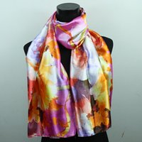 Wholesale White Beach Painting - 1pcs Gold Pink White Black Lily Satin Oil Painting Scarves Shawl Beach Silk Scarf 160X50cm Fashion Accessories