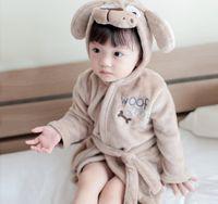 Wholesale Boy Wear Nightgown - New Autumn Winter Children's Wear Flannel Cartoon Animal Hooded Leisurewear Pajamas Gown Bathrobe Baby Kids Loungewear Girls Boys Homewear