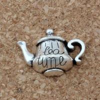 "Wholesale Single Tea Pot - MIC 100PCS New Antique silver Alloy Single-sided ""Tea Time"" Tea Pot Charms Pendant 19*12.5mm DIY Jewelry A-137"
