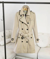 Wholesale England Women Coat - European and American women's wear in the European style of the European station women in a double-breasted plain-colored coat
