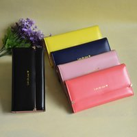 Wholesale Frames Capacity - Wholesale- 2017 high capacity women THREE FOLDS long wallets pure solid color women's wallet purse with card holder and photo frame
