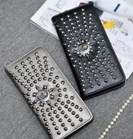Wholesale Wholesale Mens Handbags - Punk Skull Rivet Purse Men Women Leather Wallet Long Handbag Vintage Fashion Clutch Wallets Mens Womens Purses