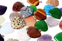 Wholesale Diy Gemstone Pendant - Wholesale Lots Jewelry Heart Natural gemstone Stone mixed Pendants Loose Beads Fit Bracelets and Necklace Charms DIY #Bead0149